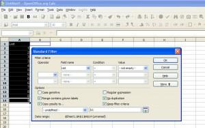 Удалить дубликаты или повторы строк в Calc OpenOffice.